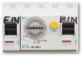 Biophotone Sound Chips auf FI-Schutzschalter