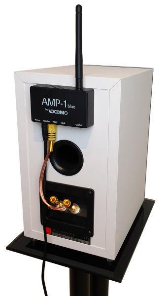 AMP-1 blue hinter einer Kompaktbox