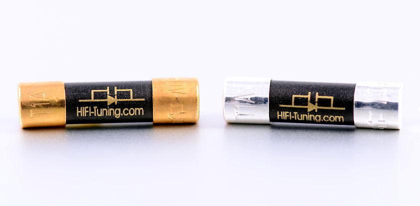 Supreme Feinsicherung Typ Kupfer (l.) und Silber/Gold (r.)
