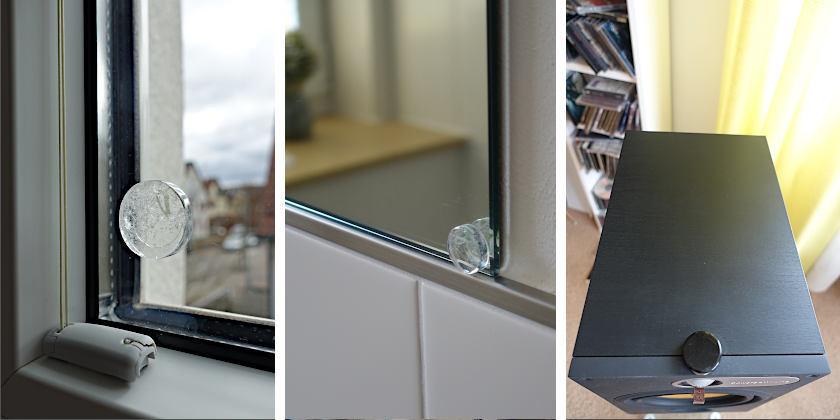 Einsatz von Ronden auf dem Fensterglas, auf dem Badspiegel und am Lautsprecher