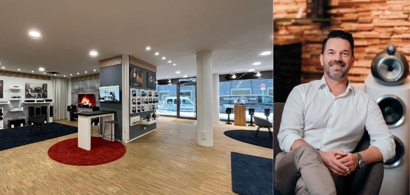 Der HiFi Klubben Store in München (links) und Deutschland Chef Oliver Schroll (rechts)