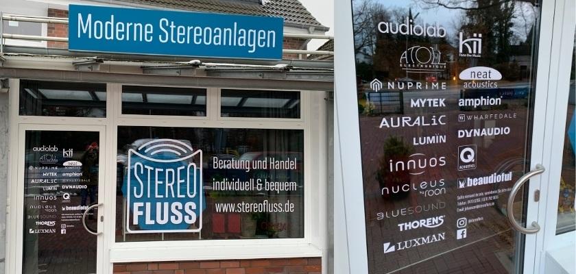 """Die Front des HiFi Ladens """"Stereofluss"""" in Hamburg"""