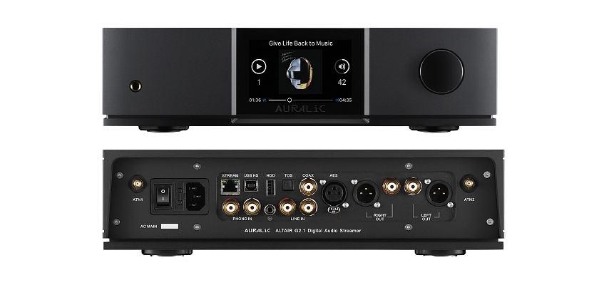 Vorder- und Rückseite des ALTAIR G2.1 Digital Audio Streamers von AURALiC