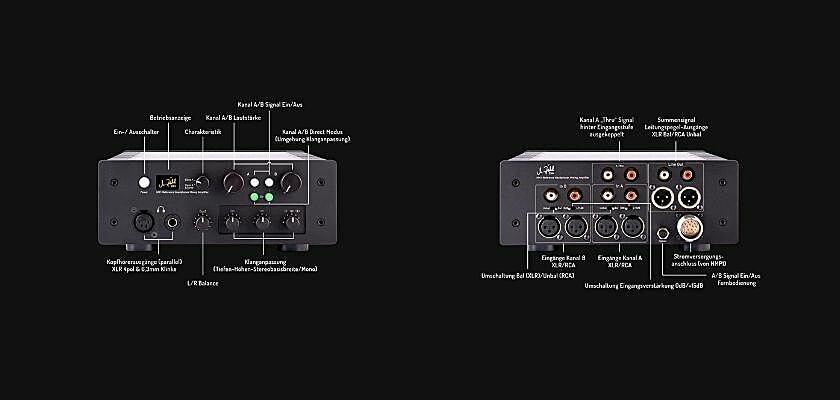 Vorder- und Rückseite des HM1 Referenz-Kopfhörer-Verstärkers von Zähl