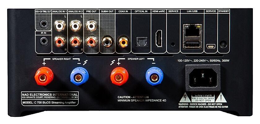 Die Anschlüsse des BluOSTM Streaming-Vollstärkers NAD C 700
